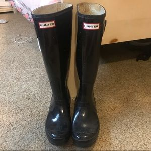 Black Gloss Hunter Rain Boots